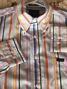 FACONNABLE Men's Multi Colored Stripe Cotton L/S Shirt Size L #Faconnable #ButtonFront