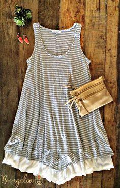 Tegan Dress - Gray Stripe (PRE-ORDER)
