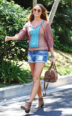 Mom to be Stacey Keibler wearing TOLANI Courtney Dress in RED tucked in as a cute top!! We love her pregnant casual style!