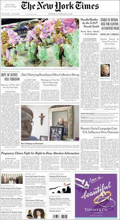#20160211 #USA #NYC #NewYorkCity #TheNewYorkTimes Thursday FEB 11 2016 http://en.kiosko.net/us/2016-02-11/np/newyork_times.html