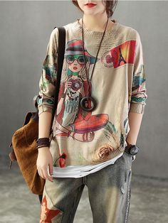 Neckline: Round Neck Sleeve type: Raglan Sleeves Material: Cotton & Polyester Wearable In: Spring,Autumn Soft Free Size Boho Fashion, Womens Fashion, Fashion Trends, T Shirt Painting, Types Of Sleeves, Color Swatches, Tunic Tops, Portrait, Stylish