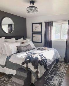 42 + Dark Gray Bedroom Walls Master Suite Tips 57 – Hazir Site Light Gray Bedroom, Grey Bedroom Design, Gray Bedroom Walls, Grey Bedroom With Pop Of Color, Romantic Master Bedroom, Grey Bedroom Furniture, Bedroom Sets, Home Decor Bedroom, Modern Bedroom