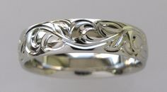 14k White Gold 6mm Hand Engraved Vine and Leaf by NathanJewelers