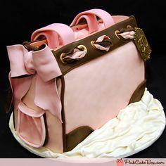 Pink and Brown Handbag Cake   http://blog.pinkcakebox.com/pink-brown-handbag-cake-2009-02-22.htm