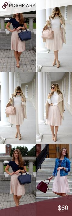 """Ann Taylor Pleated Skirt in Blush (New w/out tags) As seen on various fashion blogs, such as """"The Sol Compass"""" and """"Suburban Faux Pas""""!   BRAND NEW WITHOUT TAGS.   I love pleated skirts. You can dress them up with a pair of heels and wear them to the office or pair them with sandals and a cute top for a more casual look!   Photo 1: fashion blogger & cover photo Photo 2 - fashion blogger: Suburban Faux Pas Photo 3 - fashion blogger: The Sol Compass Ann Taylor Skirts Midi"""