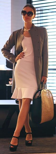 Who's Lady CEO...Emporio Armani Beige Women's Leather Coat | ~LadyLuxury~