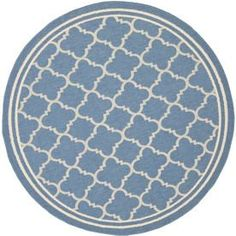 Safavieh�Courtyard Round Blue Transitional Indoor/Outdoor Area Rug (Common: 5-ft x 5-ft; Actual: 5-ft 3-in x 5-ft 3-in)