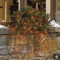 ♥ outdoor window swag with fairy pin lights