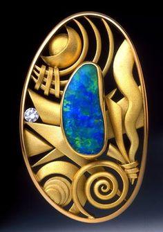 Boulder opal and gold - sensational - Aaron Macsai is the artist.