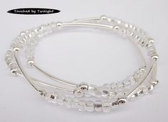 Seed and Noodle Bead Stretch Bracelets - Set of 3 - Silver Seed Beads w/Silver Noodle Beads (SN102)