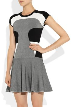 Diane von Furstenberg|Renee color-block stretch-jersey dress|I would wear as a sheath with long skirt