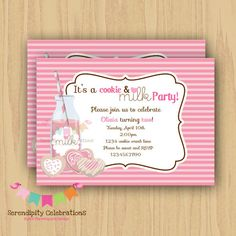 DIY Milk and Cookies Invitation v2 by SerendipityPrintable on Etsy, $12.00