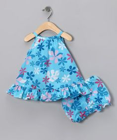 Take a look at this Blue & Pink Floral Dress & Bloomers - Infant & Toddler by RJC Girls on #zulily today!