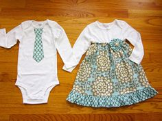 Matching Outfits Brother Sister Siblings - Girls Onesie Dress and Boys Tie Onesie or Tie Tshirt - Wallflowers in Sky - Lotus collection Twin Outfits, Matching Outfits, Kids Outfits, Matching Set, Bodysuit Dress, Sibling Shirts, Baby Sewing Projects, Toddler Fashion, Sewing Clothes