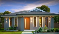 Alfresco 172 from Rivergum Homes combines a compact design with rear loaded double parking to suit slightly larger blocks. Model House Plan, House Plans, Home Room Design, House Design, Modern House Facades, Carport Designs, Down South, New Home Designs, Facade House