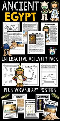 Ancient Civilizations: Ancient Egypt Complete Unit with King Tut and Cleopatra Study History, History Facts, Nasa History, Cleopatra, Interactive Activities, Interactive Notebooks, Learning Activities, Teaching Ideas, Life In Egypt