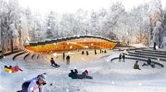 BIG unveils another design, this time an ice hockey rink in northern Sweden inspired by the natural topography and covered with a green roof - architecture Amphitheater Architecture, Pavilion Architecture, Architecture Magazines, Landscape Architecture Design, Organic Architecture, Residential Architecture, Contemporary Architecture, Ice Hockey Rink, Ice Rink