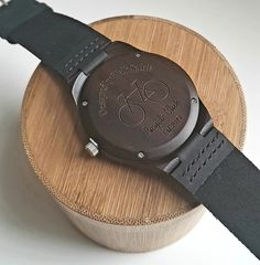 Back of the bicycle bamboo watch. This part of the watch can be personalized with any phrase, name or date. A perfect gift for passionate cyclists!