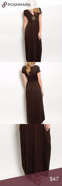 "Stunning brown maxi dress with embroidered detail This short sleeve dress features a v-neckline, maxi length hem line and embroidered detail on center of waistband. Fabric Content: 95% VISCOSE 5% SPANDEX Garment measurements: L: 57"" B: 26"" W: 22""  ---------- Size Measuring Table---BUST-WAIST-HIPS---(inches) -------------- Small:33-34/25-26/35-36  Medium:36-37/27-28/37-38  Large:39-40/29-30/39-40 Undefined Dresses Maxi"