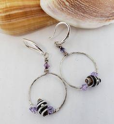 Natural Pyrene (Zebra) Shell Earrings by KuuipoDesignerJewels on Etsy Shell Earrings, Etsy Earrings, Hoop Earrings, Hawaiian Jewelry, Swarovski Crystals, Shells, Lavender, Personalized Items, Sterling Silver