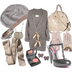 Dream Closet #outfit #grey #bows #gold