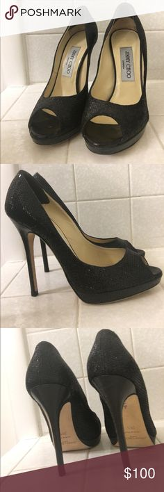 Jimmy Choo Black Glitter Peep Toe Pumps Authentic Jimmy Choo Black Glittery Peep Toe Pumps. Barely used and like new condition. Absolutely stunning on! Jimmy Choo Shoes Heels