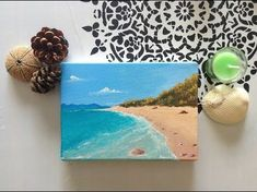 Acrylic Seascape Painting Lesson (Pt – Painting A Beach Scene Background Small Canvas Paintings, Small Canvas Art, Mini Canvas Art, Easy Canvas Painting, Simple Acrylic Paintings, Mini Paintings, Small Art, Seascape Paintings, Diy Painting