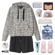 """""""noise and tears; ❤️"""" by sadtrashqueen ❤ liked on Polyvore featuring Monki, adidas, Fresh, NARS Cosmetics, HUF, Urban Trends Collection, Anastasia, MAKE UP FOR EVER, Clinique and Crate and Barrel"""