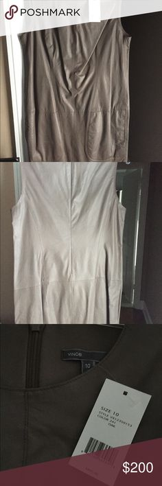 Vince sleeveless genuine leather dress size 10 Brand new sleeveless with tags Vince dress. Genuine leather size 10. Last two pictures are of model wearing exact same dress but in black. Vince Dresses Mini