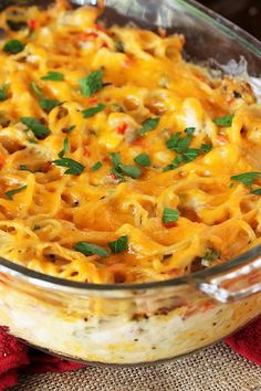 Turketti {aka: Leftover Turkey Spaghetti Casserole} Topped with Melted Cheese Image
