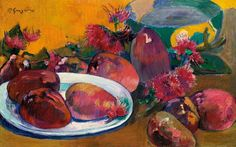 Nature morte aux Mangos   -   Paul Gauguin,  1891-96  French,  1848 - 1903  Oil on canvas, 30.4 by 47.4cm.12 by 18 5/8 in