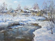 """Andrey Shirokov  The Shadows In March  Oil on canvas  24"""" X 32""""  (60 X 80 Cm)  $2100    For more information about this artist visit www.silvanagallery.comSee More"""