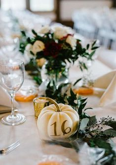 Elegantly Rustic Fall Barn Wedding is Perfectly Pretty! Adorably elegant painted pumpkin wedding table numbers for a fall wedding! Adorably elegant painted pumpkin wedding table numbers for a fall wedding! Barn Wedding Decorations, Fall Wedding Centerpieces, Fall Wedding Flowers, Wedding Table Numbers, Floral Wedding, Wedding Colors, Rustic Wedding, Wedding Ideas, Centerpiece Ideas