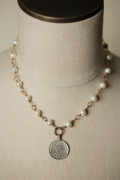 "Eat Love Pray 18.5"""" Coin Focal Necklace"