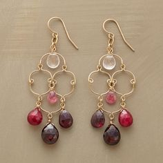 FINE BALANCE EARRINGS--In celebration of balance and harmony, Thoi Vo suspends rose quartz, pink tourmaline and garnet within 14kt goldfilled wires. Made in USA. Approx. 2-3/8L.