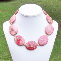 Kat  GORGEOUS Chunky 45mm Oval Pink Variscite Sea by Tessyla, $165.00