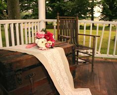 Burlap and Lace Table Runner.  Add soft touches to your rustic barn wedding