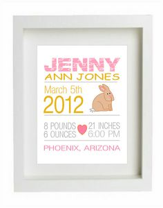 Personalized Girl Birth Announcement Print Custom by DIGIArtPrints