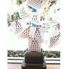 Eyechart vision exam vintage typewriter window display