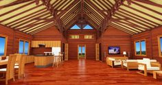 Large rectangular 2 bedroom model containing over-sized Great Room with high vaulted ceiling. Tropical House Design, Tropical Houses, Roof Sheathing, Wood Shingles, Forest Design, Hawaii Homes, Roof Structure, Common Area, Great Rooms