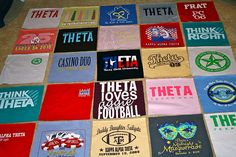 How to sew a t-shirt quilt. Would love to do this with some of the kids old clothes.