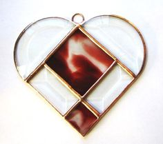 Stained Glass Heart Suncatcher Oxblood Red by shopworksofglass, $24.00