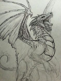 Here in Denver I help run a group called the Denver Illustration Salon and every Saturday we meet up at a local hot dog place and host a Drink n' Draw. That's where I sketched this guy up and start. - I like the roar of this dragon and how it is looking Animal Drawings, Cool Drawings, Drawing Sketches, Cool Dragon Drawings, Drawing Ideas, Drawings Of Dragons, Realistic Dragon Drawing, Simple Dragon Drawing, Dragon Tattoo Drawing