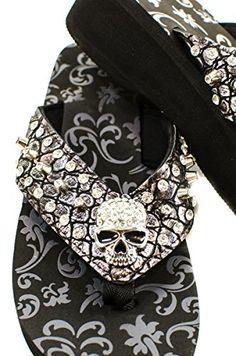 df6c2ecee Western Skull Inspired Rhinestones Flip Flop FS050M Size 9  gt  gt  gt  You