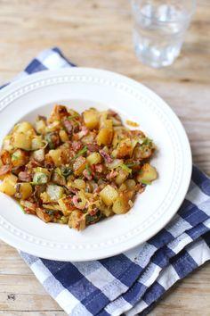 Aardappeltjeschotel met spek en prei recept