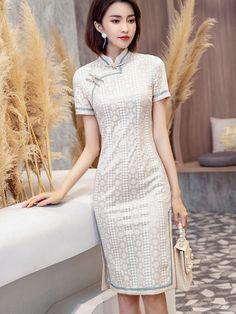 Beige Lace Midi Qipao / Cheongsam Party Dress - CozyLadyWear Dress P, Party Dress, Custom Made Clothing, Floral Chiffon, Cheongsam, Mandarin Collar, Lace Overlay, Pink Lace, Pretty Girls