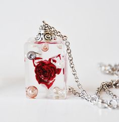 Cube pendant real tiny rose and pearls handmade new by RESILIN, $50.00