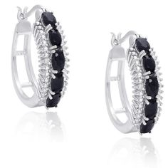 Dolce Giavonna Sterling Silver Sapphire and Diamond Accent Hoop... ($46) ❤ liked on Polyvore featuring jewelry, earrings, black, long earrings, diamond accent earrings, oval hoop earrings, sterling silver round earrings and sapphire earrings