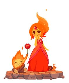 Pixel Flame Princess and Calcifer by DAV-19
