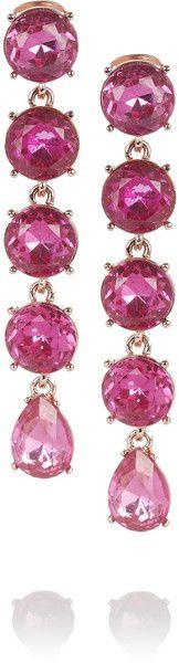 Rose Goldplated Crystal Drop Earrings - Oscar de la Renta